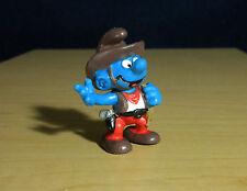 Smurfs Cowboy Variant Tan Rope Silver Gun Smurf Figure Vintage PVC Toy Lot 20122