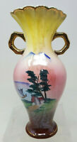 """Vintage 8.5"""" Asian Japanese Hand Painted Vase Junk Boat Homestead Yellow Pink"""
