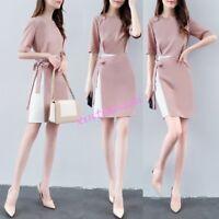Womens Summer Slim Office Lady Korean Chiffon Skirt Formal Korean Dress belt New