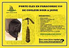 Porte clés en paracorde 550 noir-jaune tressage cobra resistant, lavable etc.