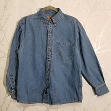 Port Authority Medium Wash Denim Long Sleeve Button Down Shirt | Men's S