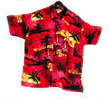 "LOUD Hawaiian shirt, RED with palms/ yellow sunsets 5XL, 62"", new, stag night"