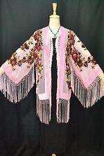 Art to Classic Baby Pink Flower Burnout Velvet Fringe Kimono Coat Duster Short