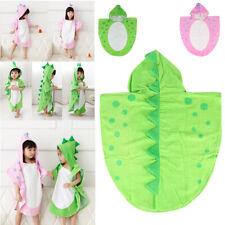 Children Kids Boys Girls Hooded Poncho Swim Beach Bath Towel Bathrobe Pink Green