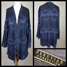 Peruvian Connection Blue Black Floral Open Front Cardigan Pima Cotton Size S