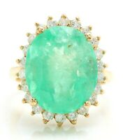 13.66 Carat Natural Colombian Emerald and Diamonds in 14K Yellow Gold Women Ring