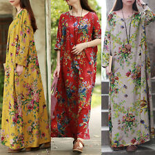 UK 14-24 ZANZEA Womens Vintage Floral Casual Loose Long Maxi Dress Kaftan Plus
