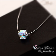 925 Sterling Silver Made With Swarovski Element Colourful Water Cube Necklace