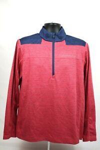 Vineyard Vines Performance Men's Size Large 1/4 Zip Pullover Pink Blue Stripes