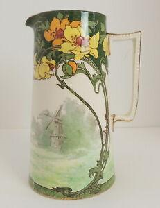 Antique Doulton Burslem Art Nouveau Pitcher Norfolk Windmill 251612