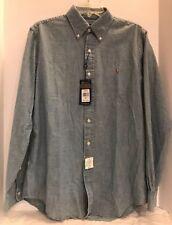 Ralph Lauren Men M Chambray Shirt Button Down Collar Brown Pony 100% Cotton NWT