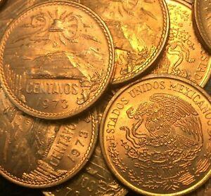 1973 🔥 Mexico 🌞 20 Centavo Bronze Coin ✨ Nice UNC+ ✨KM 441 🦅 Type 3