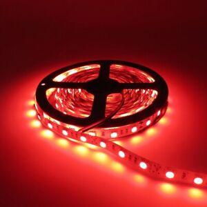 RED 16ft 150 SMD LED Flexible Light Strip Ribbon Waterproof DC12V Car Marine