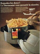 R- Publicité Advertising 1968 Friteuse electrique Moulinex Frites
