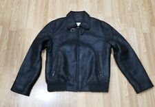 Calvin Klein Brown Faux Leather Bomber Jacket Quilt Lined Men's Size Small
