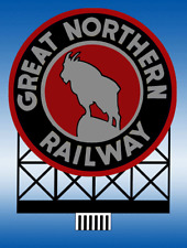 GREAT NORTHERN RAILWAY BILLBOARD ANIMATED SIGN HO-SCALE- LIGHTS, FLASHES & MORE