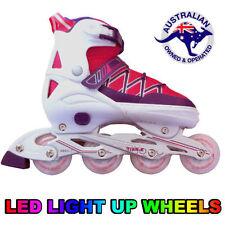 Girls Adjustable Roller Blades Inline Skates Light Up Rollerblade EU39-42 US 6-9