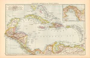 1893 ANTIQUE MAP - CENTRAL AMERICA AND WEST INDIES