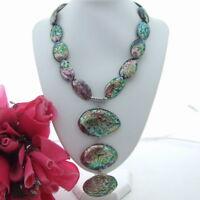 "FC080903 20"" Paua Abalone Shell Pendant Necklace"