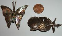 VINTAGE 2 STERLING  BROOCH LOT BUTTERFLY ABALONE & STARFISH SAND DOLLAR SHELL