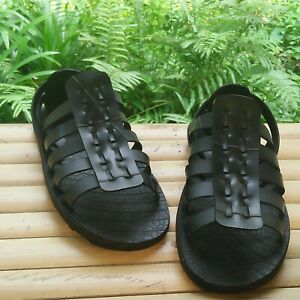 1 pair recycled tire rubber sandals shoes handmade ancient greek style Thailand