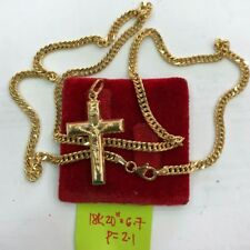 Gold Authentic 18k gold mens necklace 20 inches chain with cross pendant