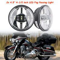 """Paar 4.5"""" Zoll LED Chrom Nebelscheinwerfer Tagfahrlicht Lampe für Harley Touring"""
