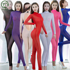 Sexy Mesh Backless Bodystocking Long Sleeve Bodysuit Transparent Club Catsuit