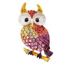 Enamel Color Rhinestone Cartoon Owl Scarf Pin Collar Lapel Pin Breastpin