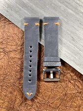 22mm DARK GRAY Crazy Horse Leather Watch Strap ORANGE stitch - Quick release