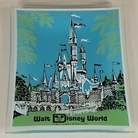 Vintage Walt Disney World Blue Ash Tray/Plate Glass 1970's Castle Souvenir