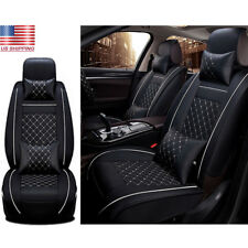 Luxury Car Seat Cover PU Leather Front & Rear 5-Seats Auto W/Neck Lumbar Pillow