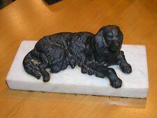 Antique Victorian Cast Iron Spaniel Golden Retriever Lab Reclining Dog Sculpture