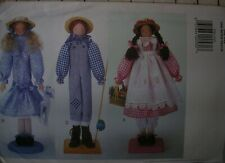 "UNCUT vintage Butterrick 3772 sewing pattern dowel display dolls 18"" boy girl"