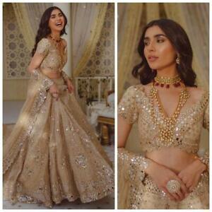Wedding Lehenga Indian Women Foil Mirror Ethnic Party Wear Golden Lengha Choli