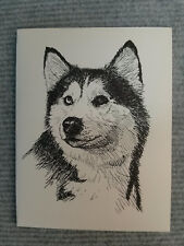 Siberian Husky Pen & Ink Stationary Cards, Note Cards, Greeting Cards. 10 ct.