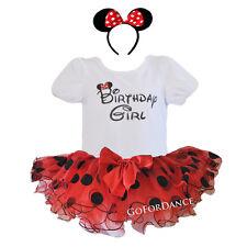Birthday Girl T-Shirt with Polka Dot Tutu and Matching Headband Outfit Set