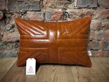 "Rich Tan Leather & Harris Tweed Union Jack Cushion 20"" X 14""🇬🇧"