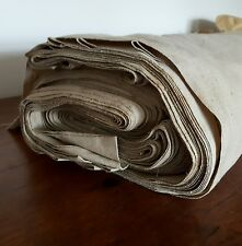 Antique french linen 35m upholstery vtg ticking homespun fabric beige lot roll