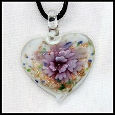 Fashion Women's heart lampwork Murano art glass beaded pendant necklace #M269