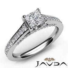 Shining Princess Diamond Engagement Pave Ring GIA F Color SI1 Platinum 1.25Ct