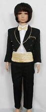 New Boys Black Tuxedo Dinner Jacket Suit Set 6-24 Month