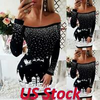 Women Sexy Xmas Off Shoulder Bodycon Jumper Mini Dress Ladies Knitted Sweater US