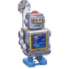 CRONKITE SPACE TV REPORTER TIN TOY CLOCKWORK ROBOT