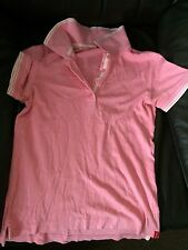 Women's T- Shirt Top By Esprit Size S Pink Polo Shirt