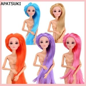 Doll Head With Colorful Straight Long Hair DIY Accessories Head For 1/6 Doll Toy