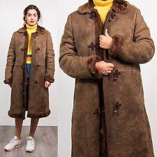 Vintage bottes en peau de mouton daim veste manteau marron chocolat duffle attacher 14