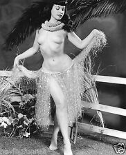 Bettie Page Bare Breasted in Grass Skirt 5 x 7  Photograph