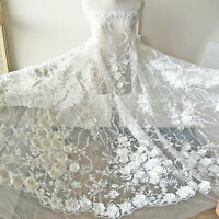 Beaded Embroidery Lace Fabric Off-White 3D Flower lace Tulle for Wedding Dress