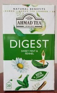 AHMAD TEA LONDON - DIGEST SWEET MINT & FENNEL 20 TEA BAGS